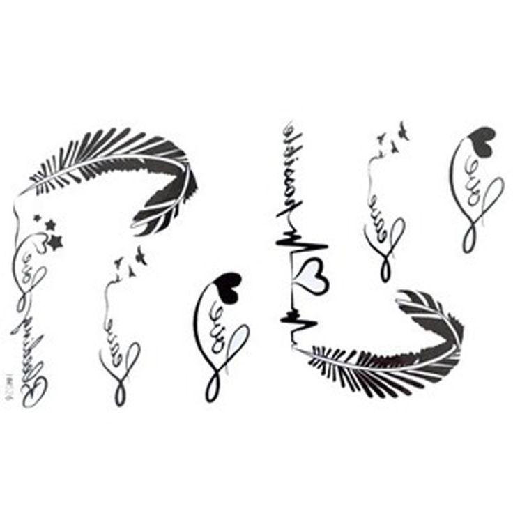 2012 neue Design Das neue Release tätowieren Aufkleber wasserdicht weibliche schwarze und weiße Buchstaben des Alphabets EKG Feder Fake Tatt...