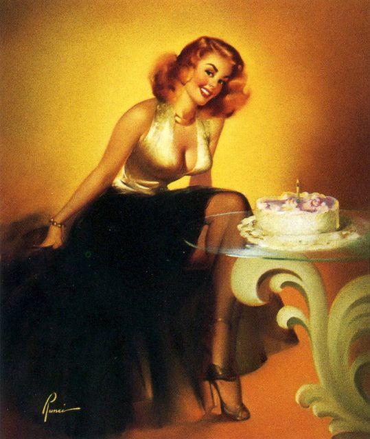 An especially happy birthday! #vintage #pinup #girl #art #birthday