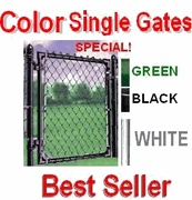 "Chain Link Fence Gate Kits - 1-3/8"" Frame, Black, Green, White, & Galvanized- 2 make driveway gate"