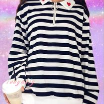 Striped Half-Zip With Hearts on Collar