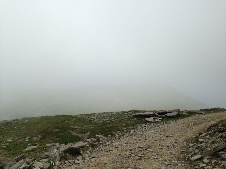 Ziel vom Zirbitzkogellauf im nebel