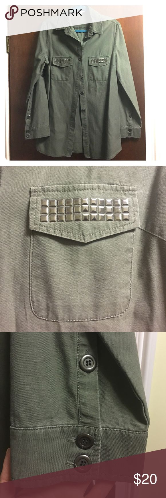 Woman's military style shirt Fun olive green/grayish military style button down. Embellished pockets and buttoned sleeves. Size Large, never worn! Cotton On Tops Button Down Shirts