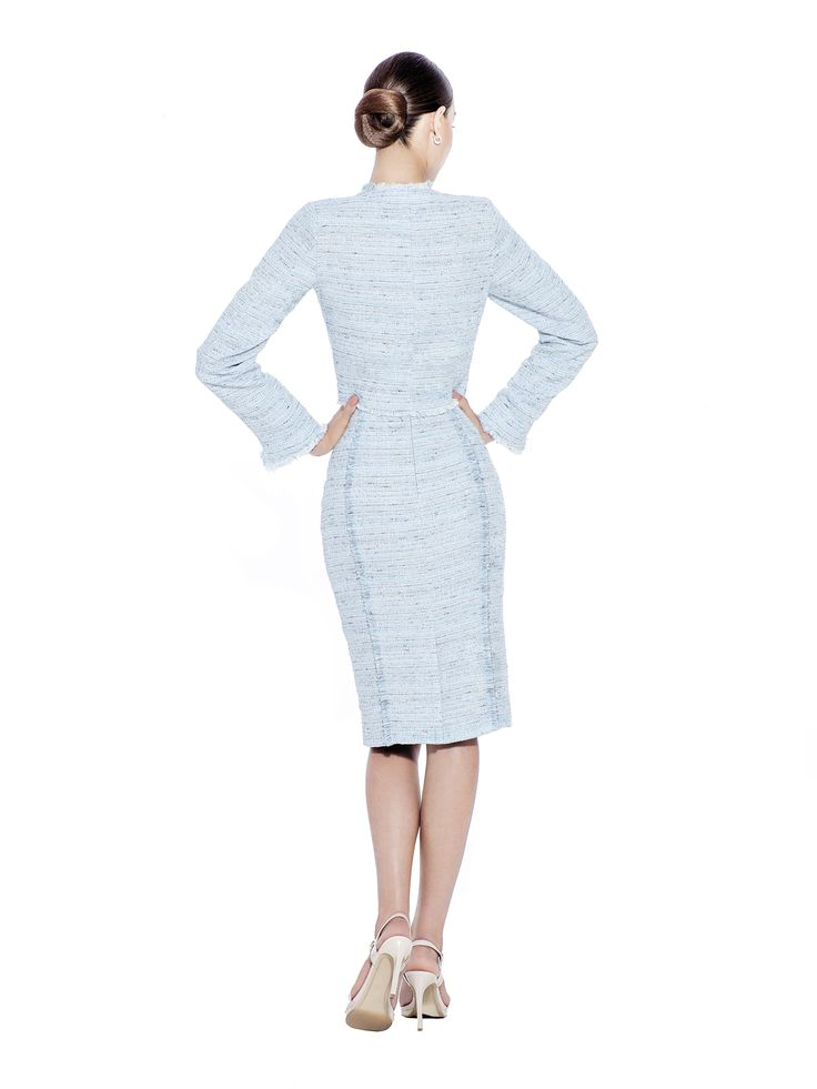 An elegant handwoven premium boucle tweed cut jacket, with front pockets and hidden fastening. Detailed with frayed edges and soft texture, this chic piece works well for formal or casual looks alike. Team with matching skirt. Handwoven boucle fabric imported from France with 100% viscose lining. Washcare: Dry clean MADE IN EUROPE