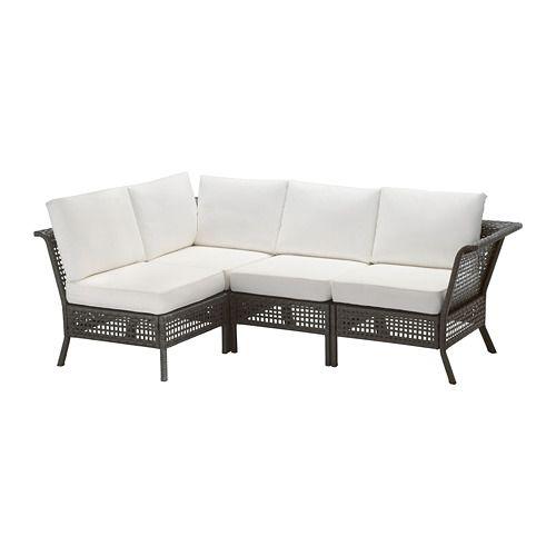 KUNGSHOLMEN 4-seat sectional, outdoor - black-brown/Kungsö white - IKEA