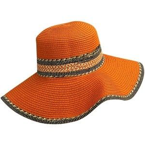 Orange Woven Straw Floppy Moroccan Summer Hat