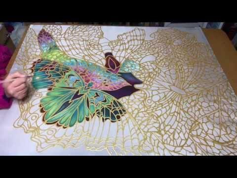 Painting in Progress ~ Butterflies on Skeleton Leaves 2  www.meikiedesigns.com