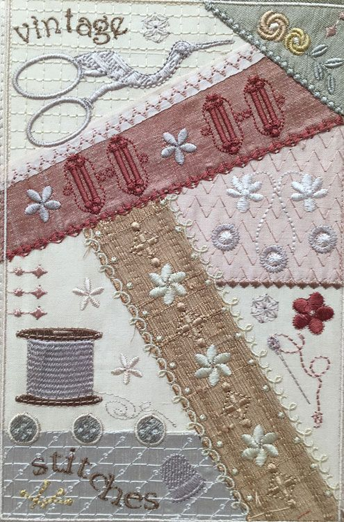 This vintage sewing crazy quilt block has it all, bird shaped scissors, spool of thread, buttons, buttonholes, needles and pins! Visit Graceful Embroidery today!