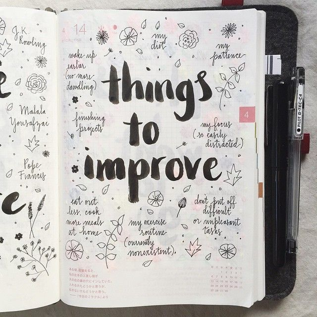 Day 14 of the #listersgottalist challenge: things I need to improve 😁 #hobonichi #roterfaden #journal #journaling #journalingprompts #artjournal #artjournaling #scrapbooking #stationery #mtn...
