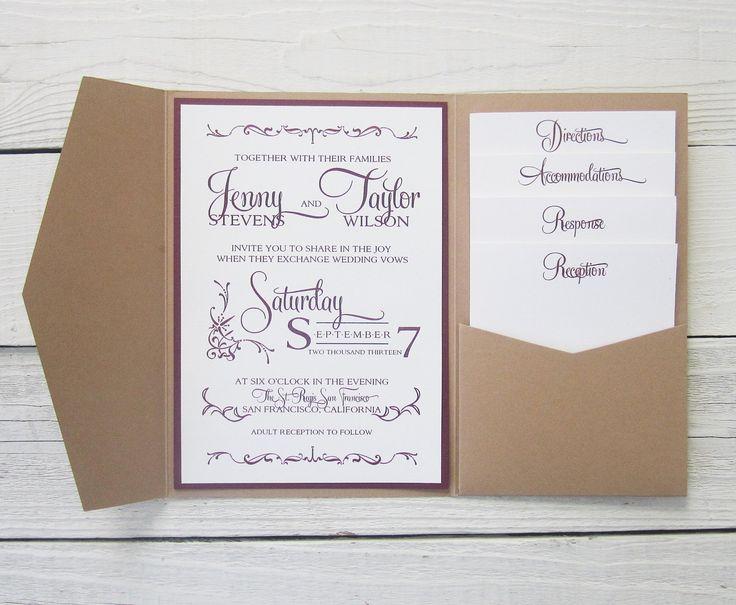 Cheap Wedding Pocket Invitations: Rustic Kraft Wedding Invitation