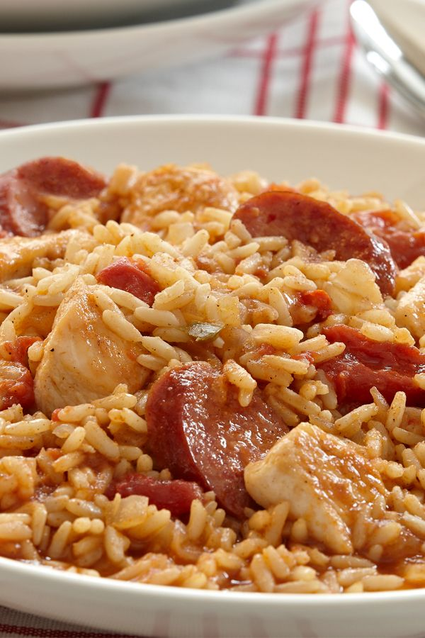 Jambalaya, a one-pot main dish from Louisiana, combines rice with chicken and sausage to create an easy weeknight dinner.