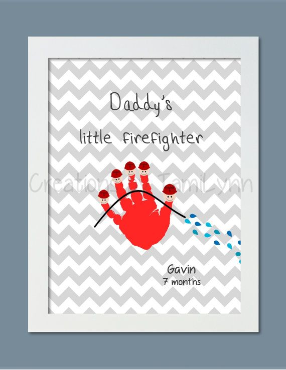 Little Firefighter Handprint Art   Personalized Baby Nursery, Childu0027s Room,  Parent, Fatheru0027s Day