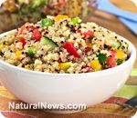 Southwest Quinoa Bowl  This recipe combines low fat spicy turkey sausage, protein-rich black beans, tomatoes, and spinach for a fiber and protein rich satisfying bowl. Vegans or vegetarians may substitute a spicy soy sausage or seasoned extra firm tofu chunks for the turkey sa