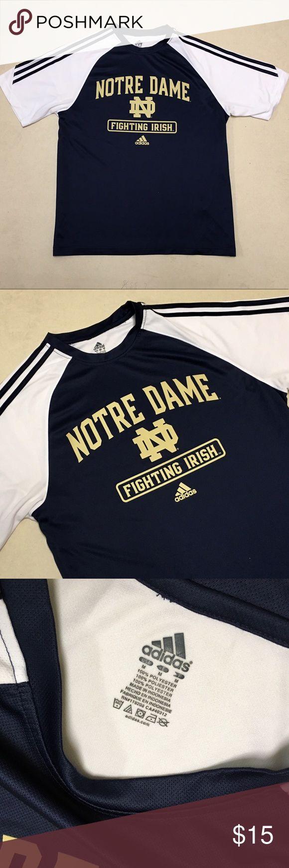 Notre Dame - Adidas Men's Athletic Shirt ☘️ Notre Dame Fighting Irish  Adidas Athletic Shirt   Size Men's Medium  Like new condition!!   ☘️☘️☘️ Adidas Shirts Tees - Short Sleeve