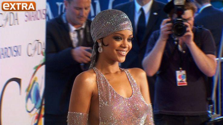 Rihanna Rocks Shockingly Sheer Swarovski Crystal Dress At
