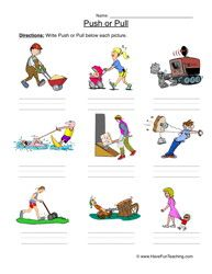 Force Worksheet Push or Pull Force, motion, Science