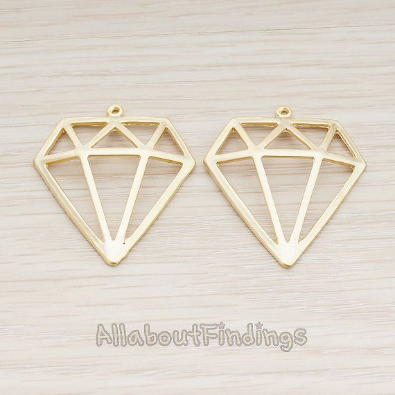 PDT784-MG // Matte Gold Plated Diamond Pendant by AllaboutFindings