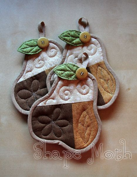 Pear shaped quilted coasters