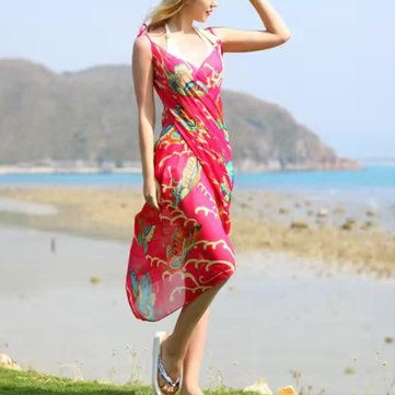 Women Lady Girls Summer Chiffon Floral Print Beach Gowns Long Sun Protaction Shawl Beach Towel at Banggood