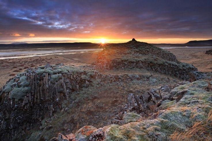December sunrise over desolate lands, Skalholt, south Iceland