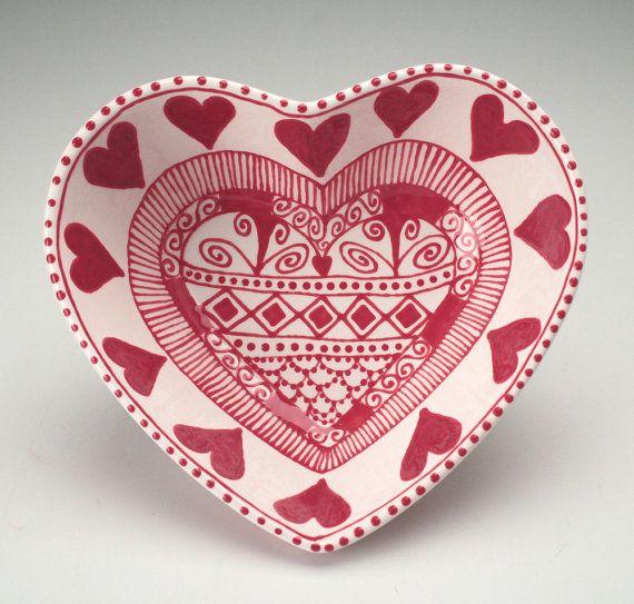 Hand painted ceramic heart bowl by Owl Creek Ceramics