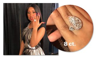 Cardi B Engaged - Ring 8 Carat Diamond Top 10 Moments  Scroll down to see pics of Cardi B's 8 carat diamond engagement ring. The retail price on a 8 carat ideal cut diamond ring would range from $1 to $1.5 million. Offset spoiled Cardi but she's worth every penny. Last week Cardi B and Offset broke up and got back together in the span of 6 hours. I'm glad she came to her senses. Scroll down to see Cardi B and Offset's Top 10 Moments!  Belcalis Almanzar Cephus  Offset was born Kiari Cephus on…