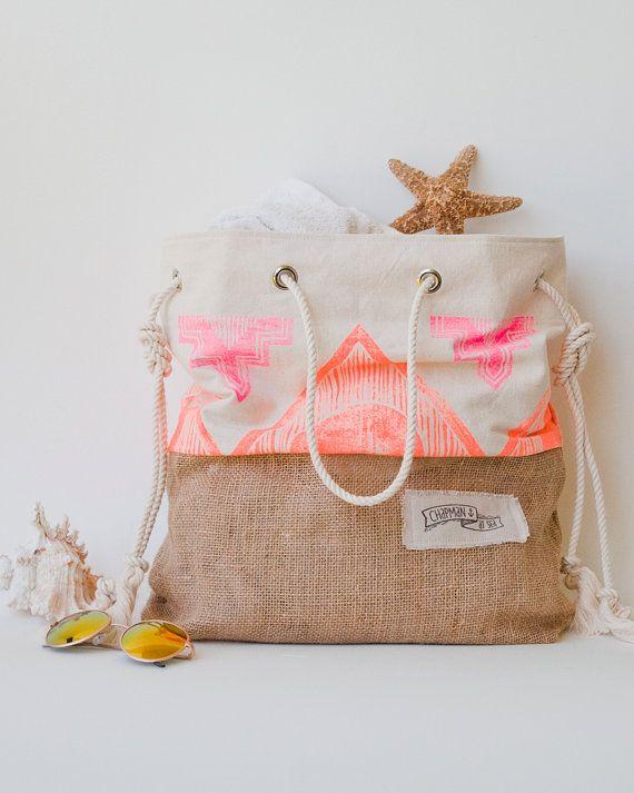 Neón rosa naranja playa bolso Tribal Print por theAtlanticOcean