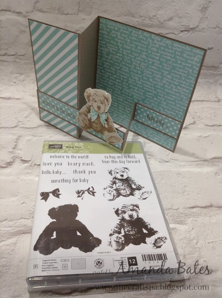 The Craft Spa - Stampin' Up! UK independent demonstrator : Baby Bear in Blue - 3 step stamping