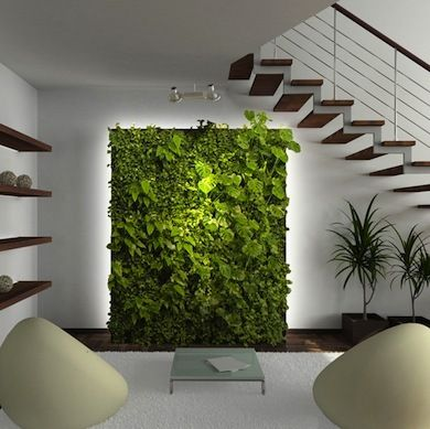 This pin inspired us to create a lush living wall as the focal point of the evrgrn loft— the perfect backdrop for the living room campsite via Bob Vila.