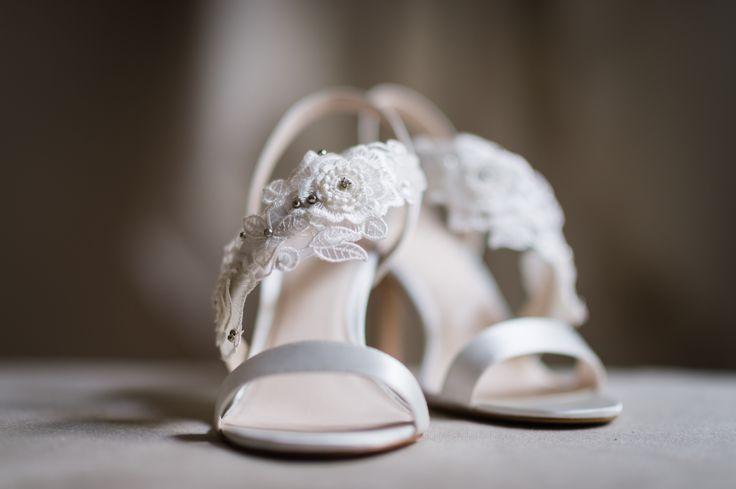 Wedding shoes by Jenny Packham. Wedding day at Villa Nozzole. Tuscany, Italy