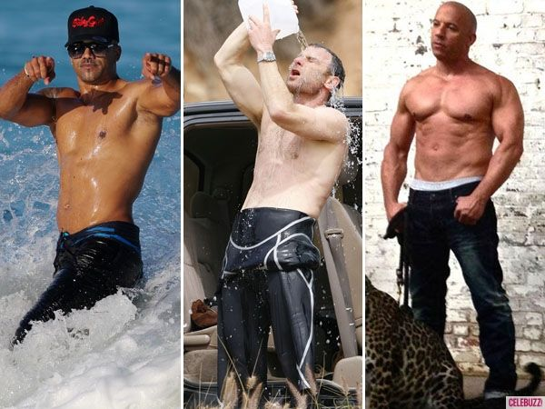 Liev Schreiber Shirtless And Pouring Water All Over Himself