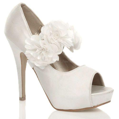 WOMENS LADIES EVENING WEDDING PROM HIGH HEEL PLATFORM PEEP TOE COURT SHOES SIZE   eBay