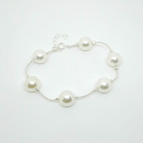 HANDMADE BRACELET PEARL CHAIN SILVER with Pearls 10mm and Silver 925 Chain and Clasps | HANDMADE JEWELRY | Crystal Pepper