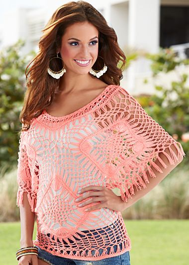 Fringe sleeve crochet sweater in coral