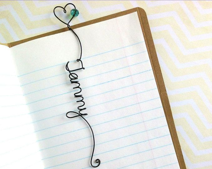 Personalized Unique Name Bookmark with Heart and Bead, Personalised Unique Bookmark with Heart, Unique Handmade Custom Bookmark