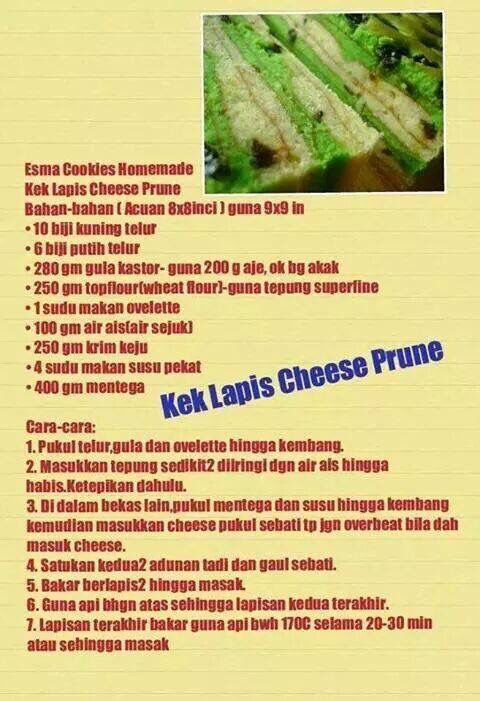 Kek lapis cheese prune