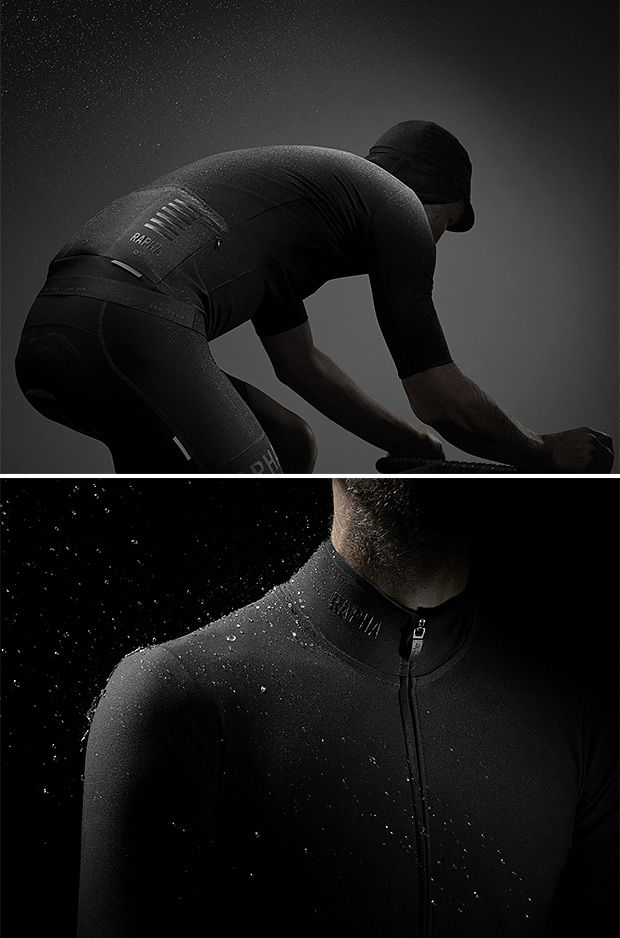 Rapha Pro Team Shadow -- Using a pioneering stretch-woven fabric, Rapha has developed single-layer foul weather cycling gear that sheds rain and blocks wind while allowing excess heat to escape. The race-fit Shadow jersey & Shadow bib pant have been tested & approved in all kinds of conditions by the elite riders of Team Sky.