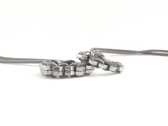 Stacking bracelets Hex nuts jewelry Grey suede leather cord Bracelet set Industrial sterling jewelry Handmade minimal bracelet HEXNUTSMADE