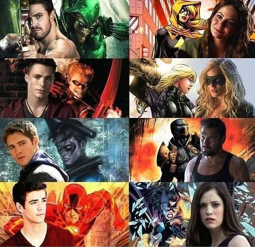 DC heroes on the CW. Stephen Amell as Green Arrow, Willa Holland as Speedy, Colton Haynes as Arsenal, Steven R. Mcqueen as Nightwing, Caity Lotz as The Canary, Grant Gustin as The Flash and Jessica De Gouw as Huntress.