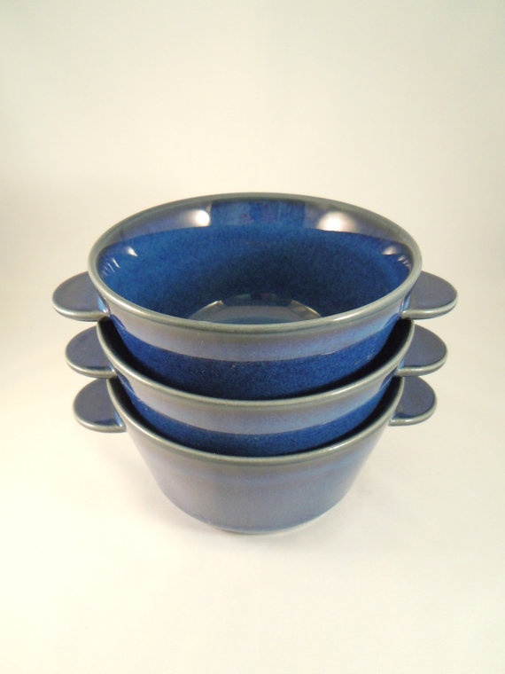Lovely set of 6 blue glazed Danish ceramic bowls, made by Desiree Denmark