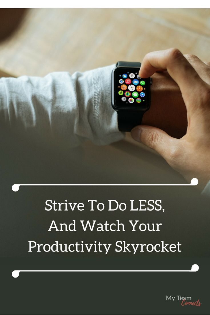 Are you trying to get too much done, and killing your productivity? It doesn't get simpler than this. Forget all the confusing apps and tools out there! http://myteamconnects.com/strive-to-do-less-watch-productivity-skyrocket/?utm_campaign=coschedule&utm_source=pinterest&utm_medium=My%20Team%20Connects&utm_content=Strive%20To%20Do%20Less%2C%20And%20Watch%20Your%20Productivity%20Skyrocket #freelance #productivity #time
