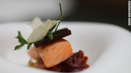 Trout marmitako—Dominique Crenn's take on the classic Basque stew. Chef/owner Dominique Crenn of Atelier Crenn restaurant in San Francisco, March 2015