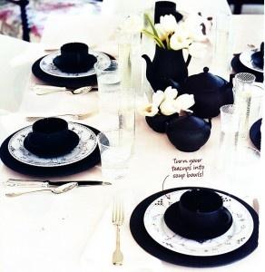 classic black & white table setting #camillestyles #black #white #tablesetting #homedecor #diningroom #flatware #dishes