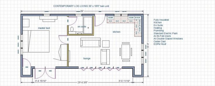 2 Bedroom Self Contained Annex Floor Plans Uk Google Search Cabins 2 Bedroom House Plans