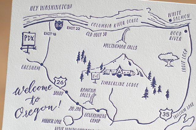 Illustrated Mountain Wedding Invitations by Darling Press / Oh So Beautiful Paper