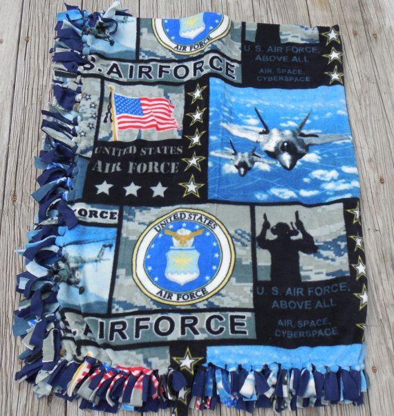 U.S. Air Force Fleece Tie-Blanket: New Digital Print  By: GabbysQuiltsNSupply Available on Etsy.com