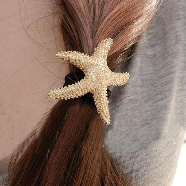 Недавно Прибытия Моды Прекрасные Аксессуары Для Волос Металлические Звезды Форме Упругие Женщины Hairbands Цвет Золото HDR-0197