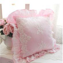 Coreano estilo princesa Home Textile Pink & White Exquisite Praça Cusion Embroided Pillow Com Cotton Preencha 45 centímetros por 45 centímetros(China (Mainland))