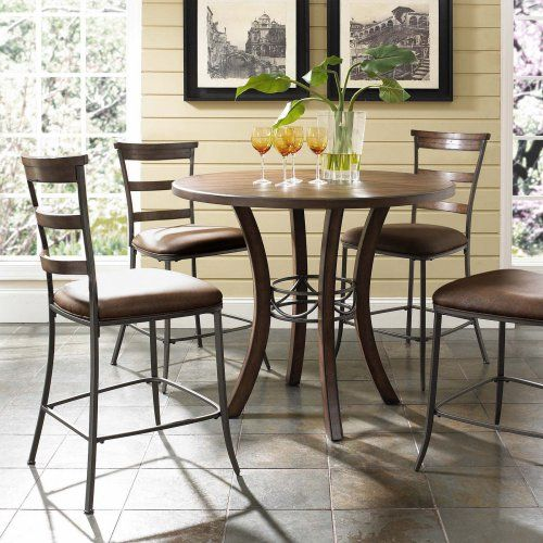 Hillsdale Cameron 5 Piece Counter Height Round Wood Dining Table Set with Ladder Back Chairs - Dining Table Sets at Hayneedle