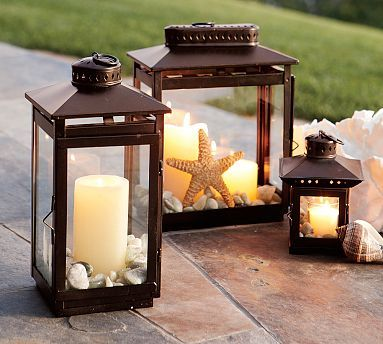 Lanterns: Outdoor Lanterns, Outdoor Living, Guest Bedrooms, Centerpieces, Centers Piece, Beaches Weddings, Patio Tables, Coastal Design, Pottery Barns