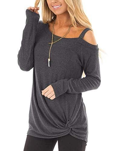 2d06b262eb9 ZILIN Women's Cold Shoulder T-Shirt Long Sleeve Knot Twist Front Tunic Tops  #tunics #tshirts